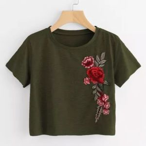 Crop Top Tee w/ Rose Embroidery